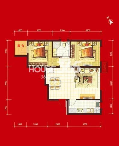 华府丹郡B10#-H1户型2室2厅1卫1厨 76.00㎡