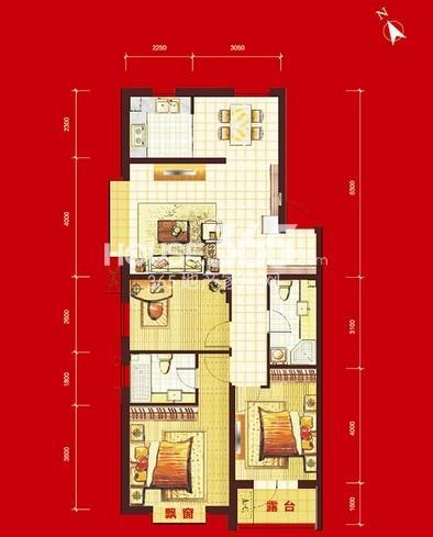 华府丹郡B10#-H4户型3室2厅2卫1厨 111.00㎡