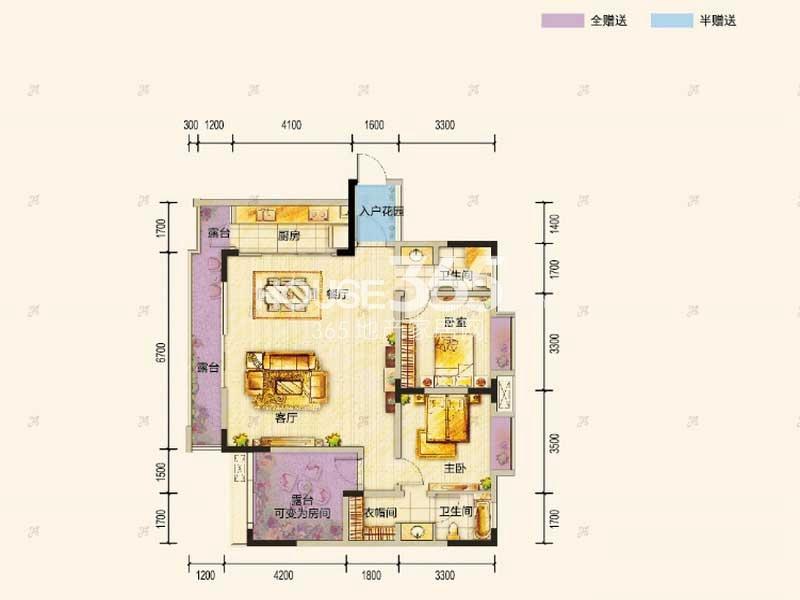 东原九城时光一期洋房4/6号楼顶层C户型2室2厅2卫1厨 88.00㎡