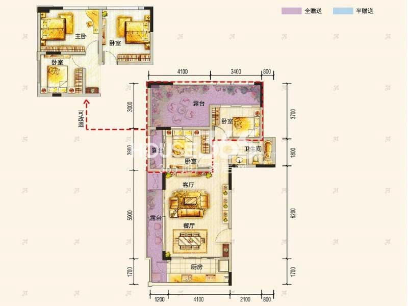 东原九城时光一期洋房4/6号楼顶层B户型2室2厅2卫1厨 57.00㎡