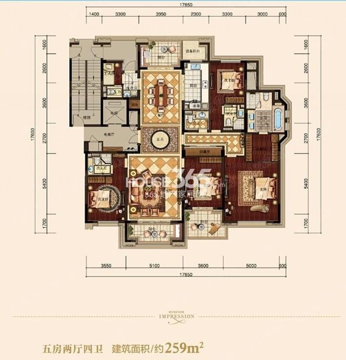 滨江钱塘印象10号楼E户型 259方