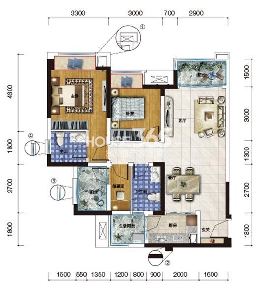 H-1户型 两室两厅一厨两卫 套内约78平米