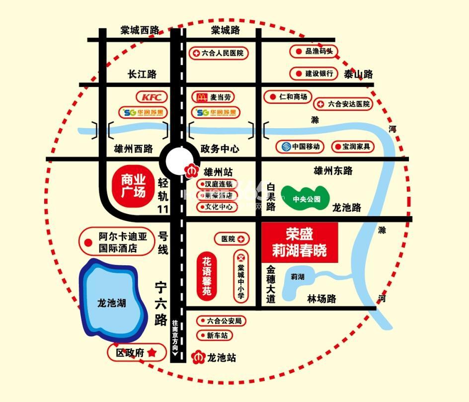 荣盛莉湖春晓交通图