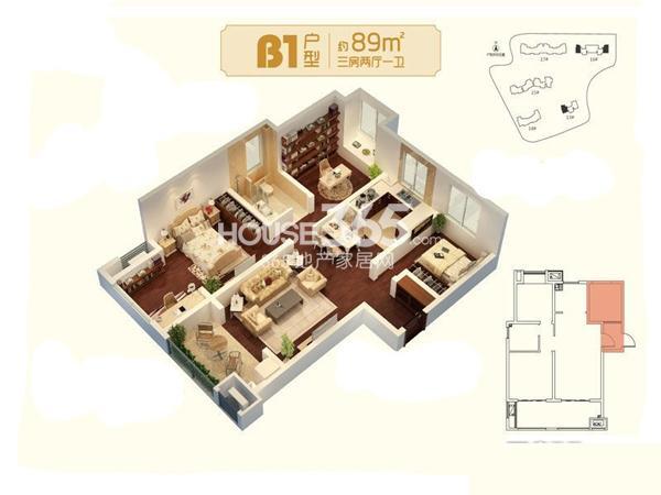 朗诗未来家B1户型图三期17#标准层约89平3室2厅1卫