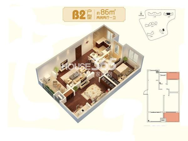 朗诗未来家B2'户型图三期13#标准层约86平2室2厅1卫