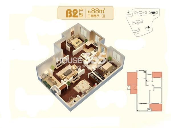 朗诗未来家B2户型图三期14#17#标准层约88平3室2厅1卫