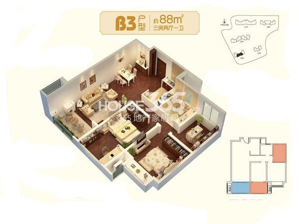 朗诗未来家B3户型图三期13#14#16#17#标准层约88平3室2厅1卫