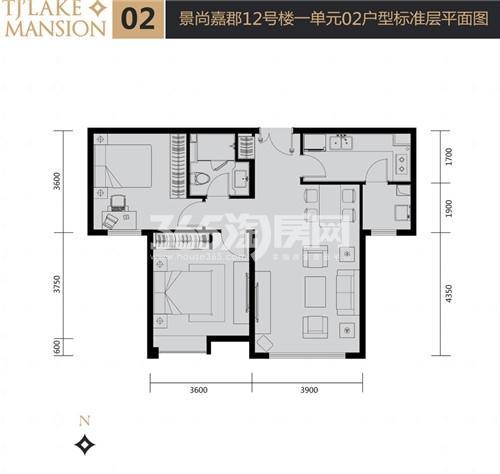 富力津门湖二期户型图 景尚嘉郡12号楼一单元02户型 87.68㎡