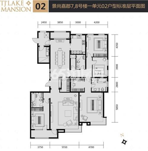 富力津门湖二期户型图 景尙嘉郡7、8号楼一单元02户型 276.97㎡