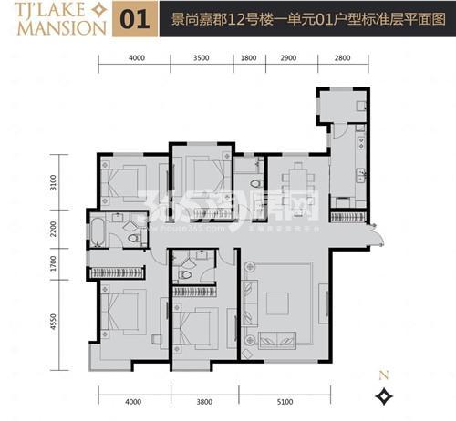 富力津门湖二期户型图 景尚嘉郡12号楼一单元01户型 213.07㎡