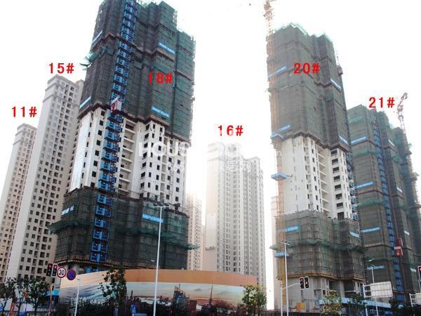 华润国际社区11#、15#、18-21#楼工程进度全景图(2014.12)