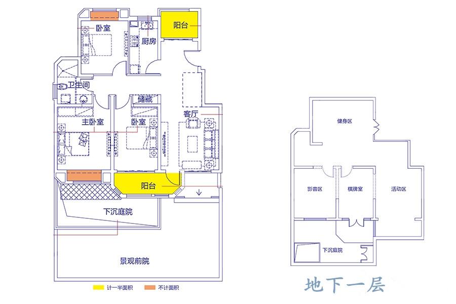 A1户型3室2厅1卫1厨115㎡