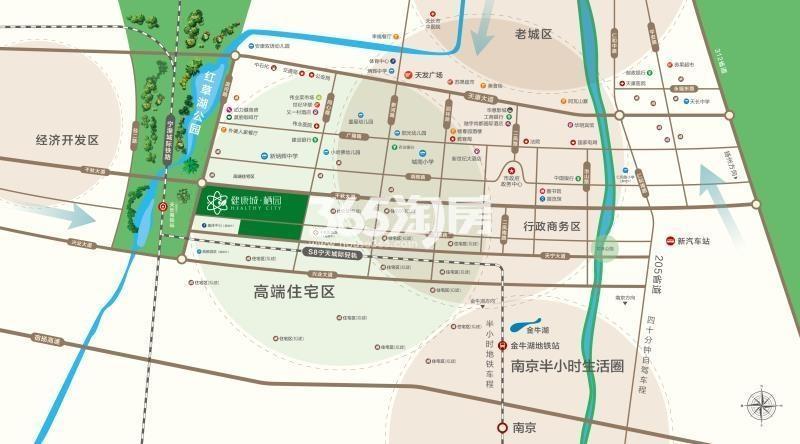 健康城栖园交通图