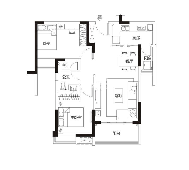 海伦堡珍珠湾花园02、03、06、07单元两房两厅一卫,约82平米