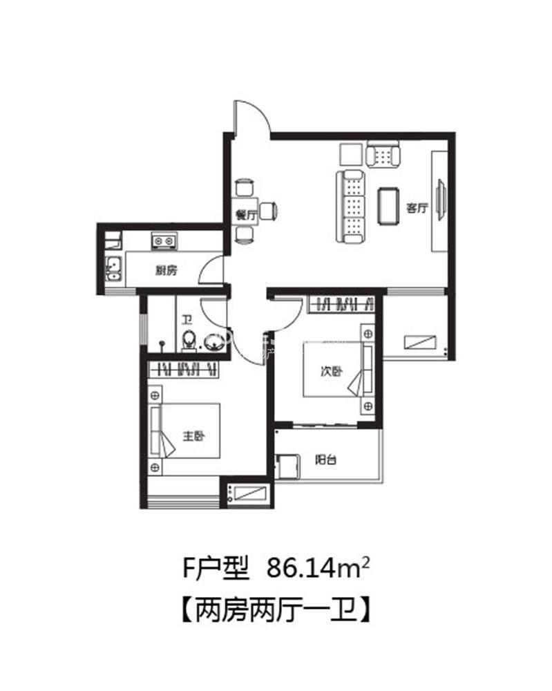 泰来苑标准层F户型93.61㎡(1.25)