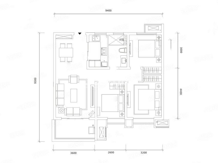 世茂璀璨倾城F户型3室2厅1卫1厨95平米