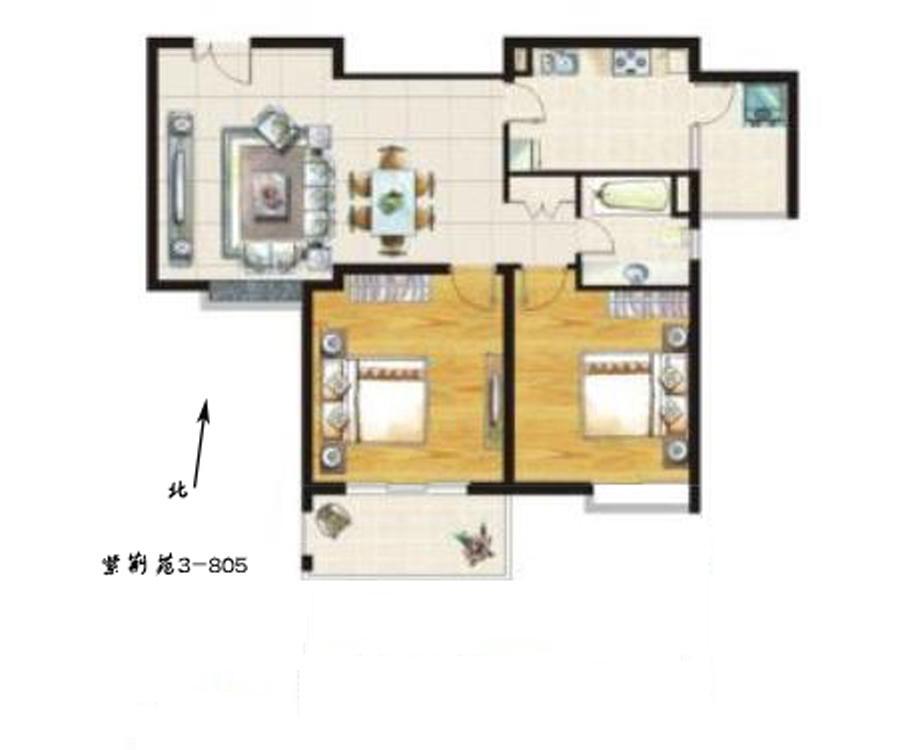 紫荆苑2室2厅1卫110.68㎡2011年满两年产权房毛坯