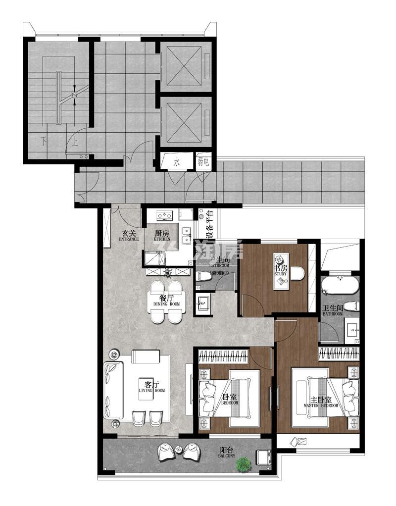 翡翠天元4#楼标准层西边02室A2户型