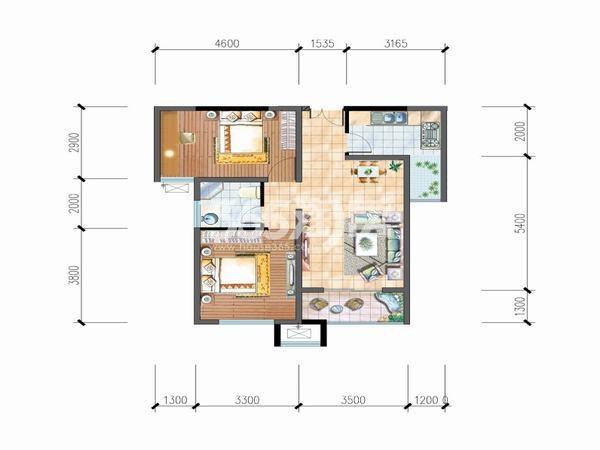 明丰阿基米德81平方米两室一厅一厨一卫户型图