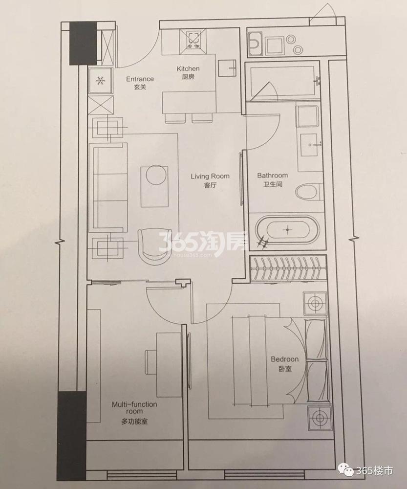 绿地紫金中心公寓64.66㎡户型图