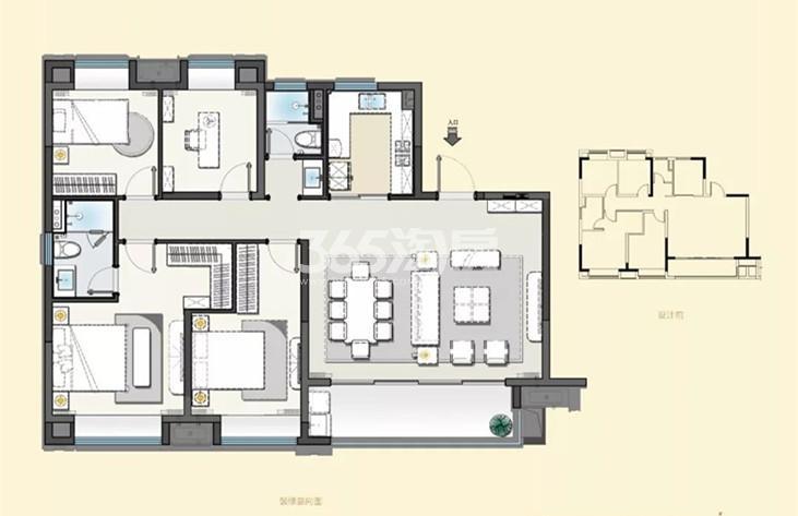 建发央誉140㎡-1四室两厅两卫户型