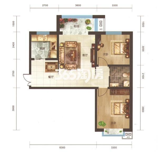 A4户型 两房两厅一卫 面积91.86㎡