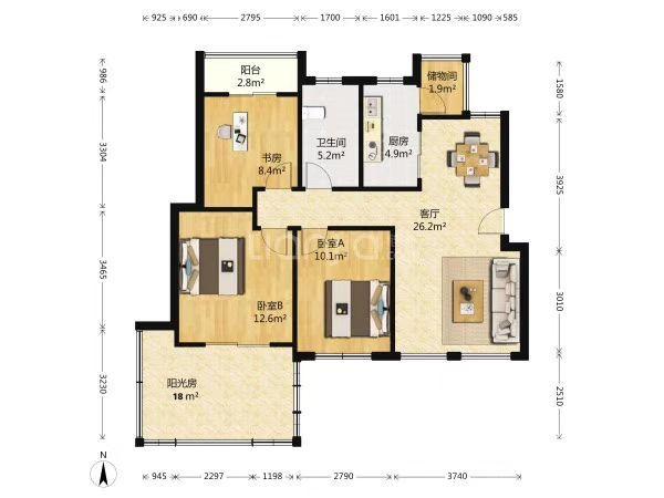 吴中区锦和加州3室2厅1卫90�O