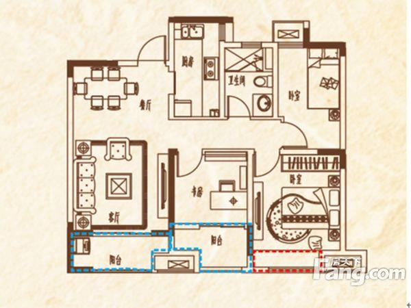 中海玺园3室1厅1卫89㎡整租毛坯
