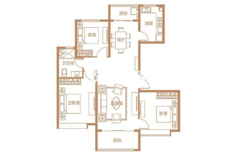 D2户型 3室2厅1厨1卫 131平米