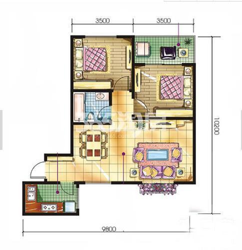 恒天第五座b1户型2室2厅1卫建筑面积约88.32平米