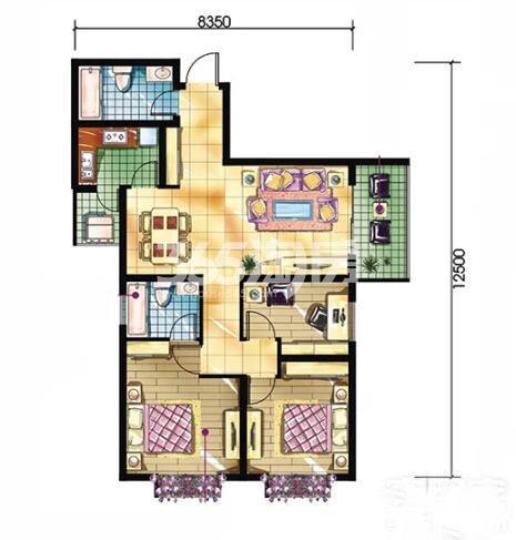 恒天第五座H户型3室2厅2卫0厨建筑面积约111.20平米