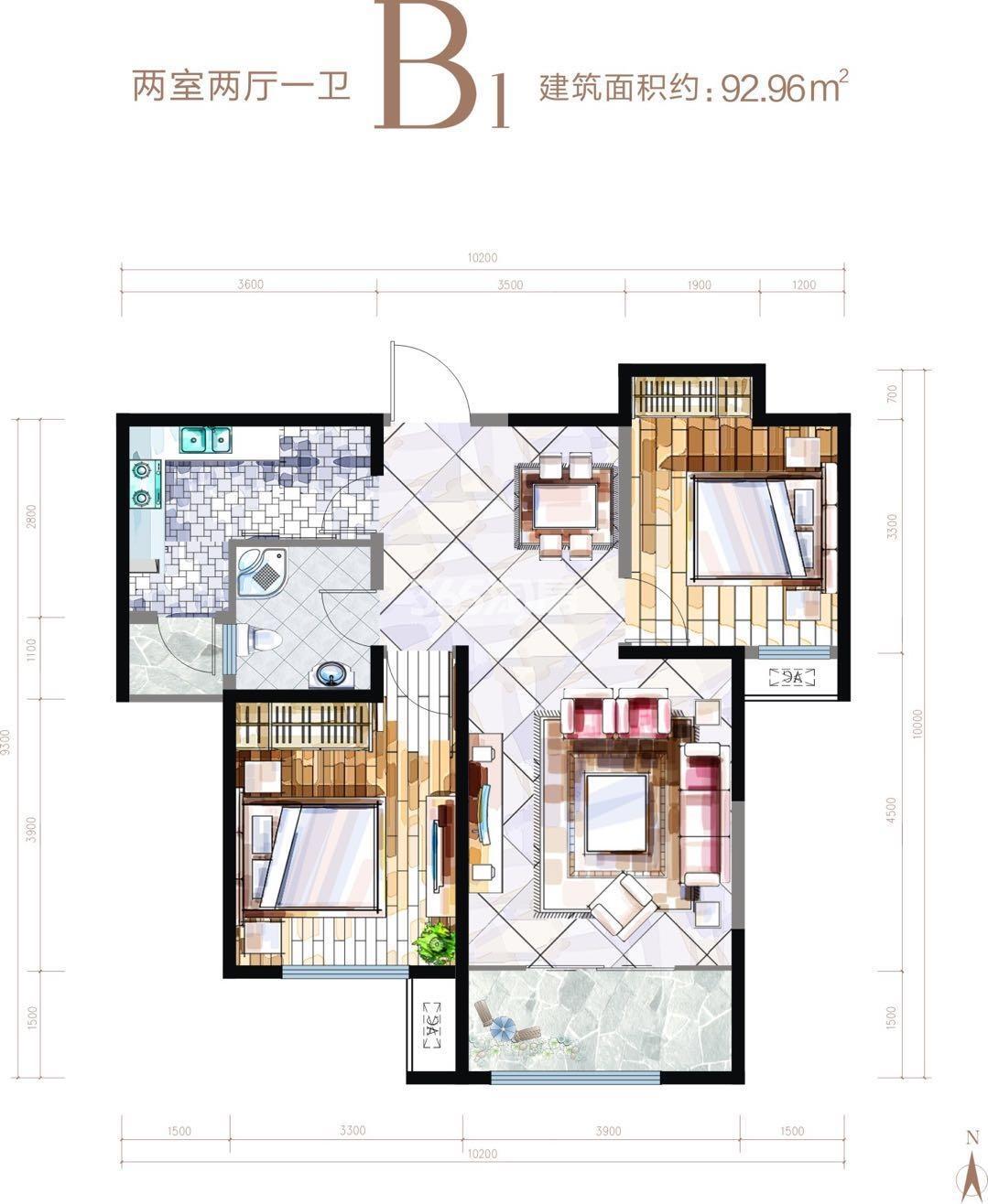 华安紫竹苑B1户型两室两厅一厨一卫92.96㎡