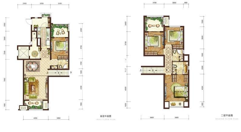 龙湖两江新宸一期云麓组团6号楼跃层B-1户型 4室2厅3卫1厨 111㎡
