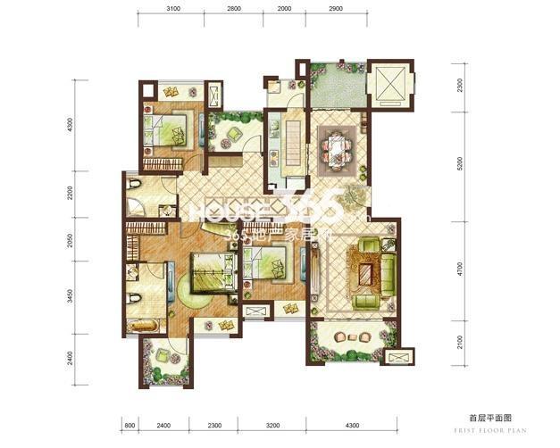 龙湖两江新宸一期云麓组团8号楼标准层C-1户型 4室2厅2卫1厨 128㎡