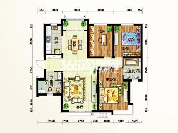 定西 天庆嘉园户型图2#D4户型 面积 140.00㎡ 3室2厅2卫1厨
