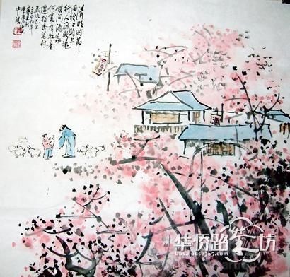 杏花树图片手绘图片