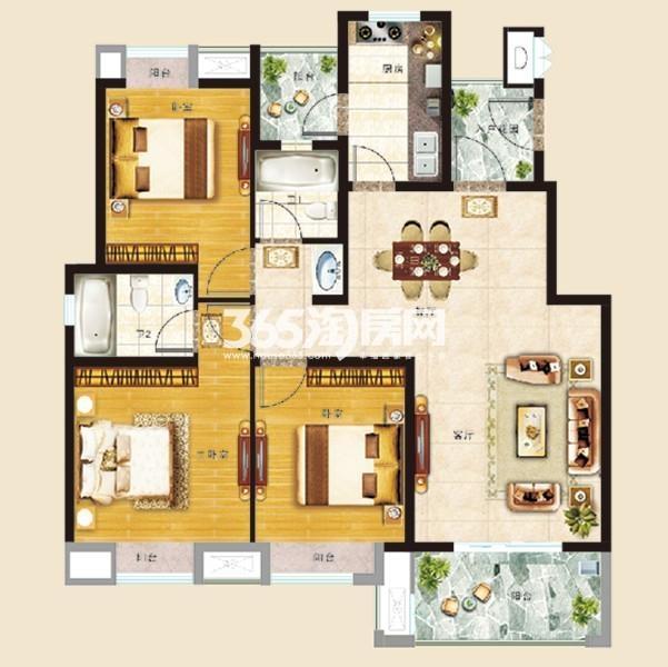 D1-D2户型3室2厅2卫 106平