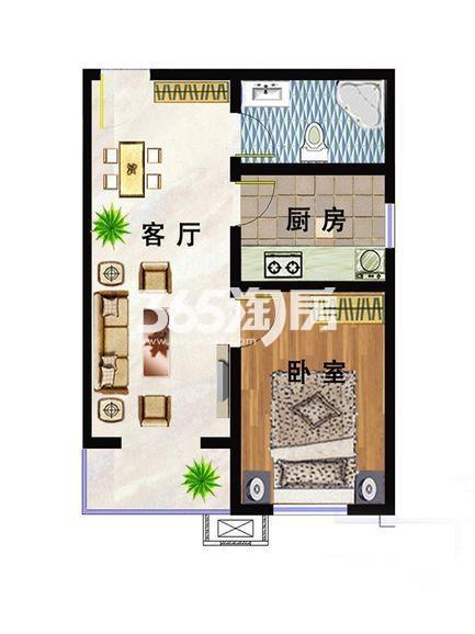 洋房D2户型 62平米一室