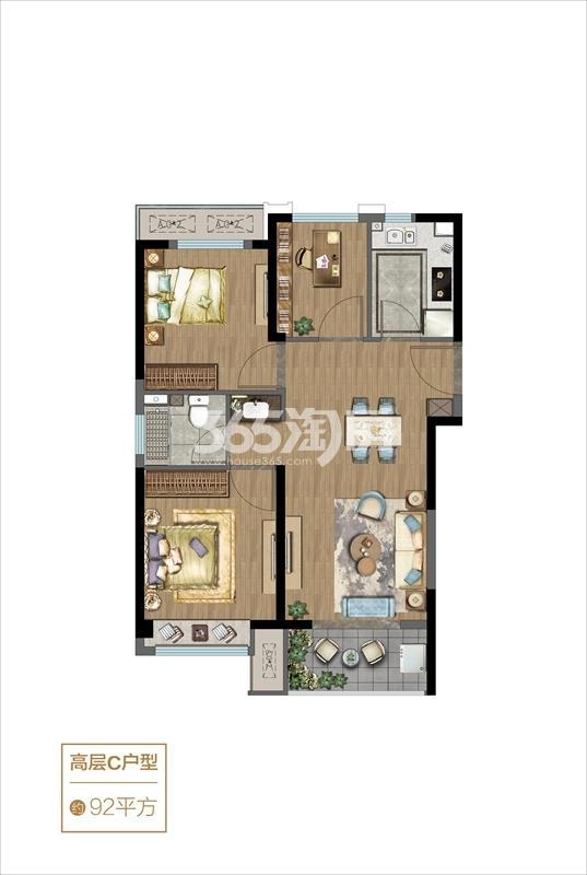 高层C户型-92㎡三室两厅一卫