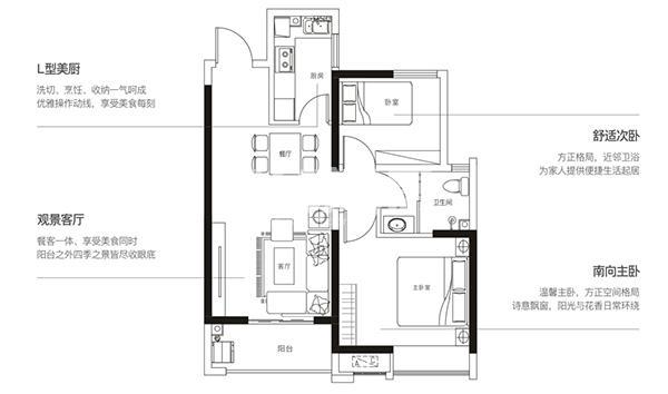 华远辰悦两室两厅一厨一卫81.03㎡户型图