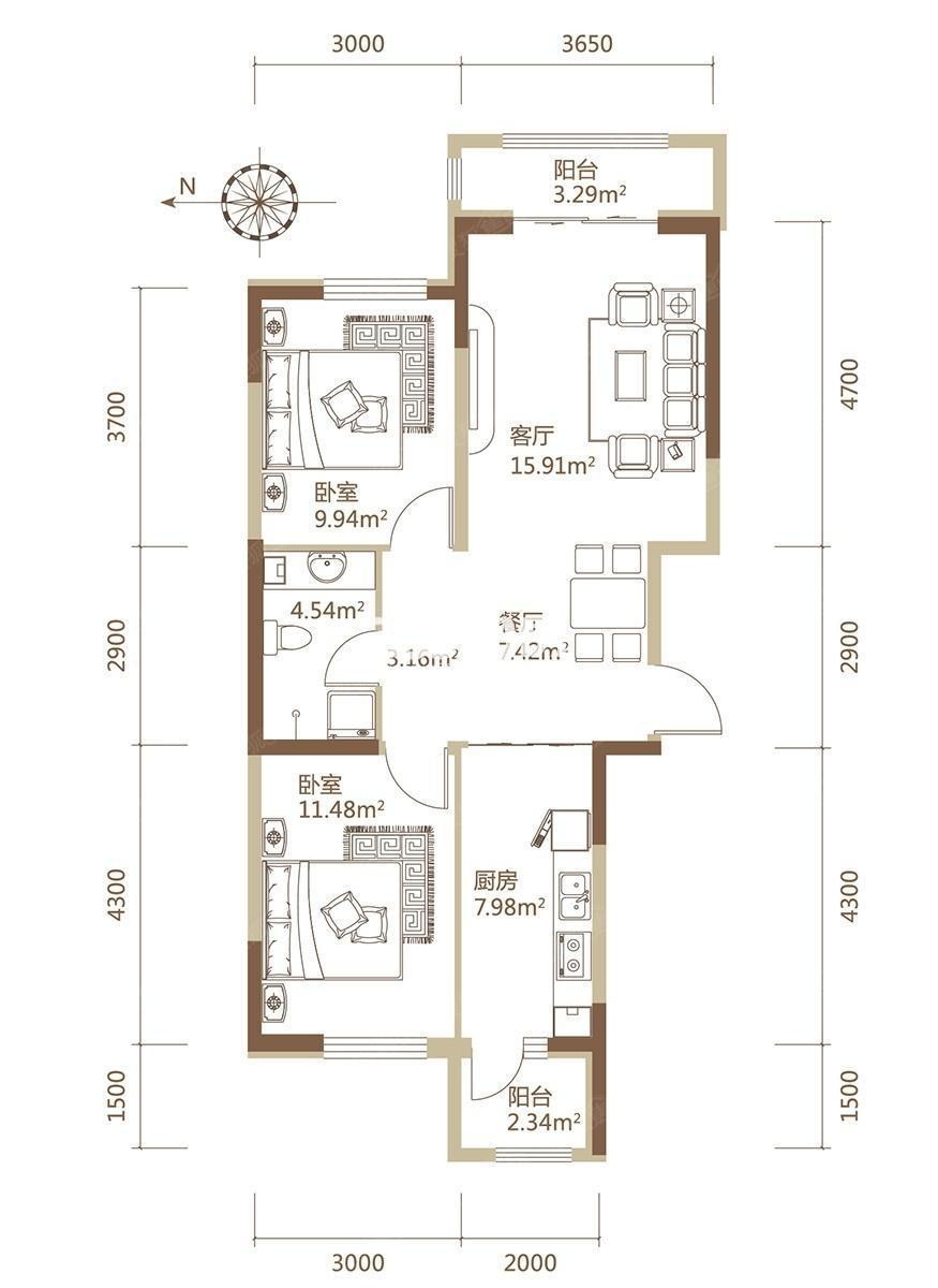 A1栋D户型建筑面积104.36平米两居户型
