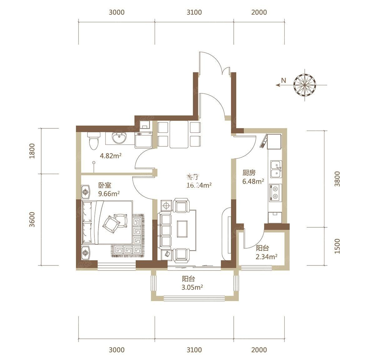 A1栋F户型建筑面积69.14平米一居户型