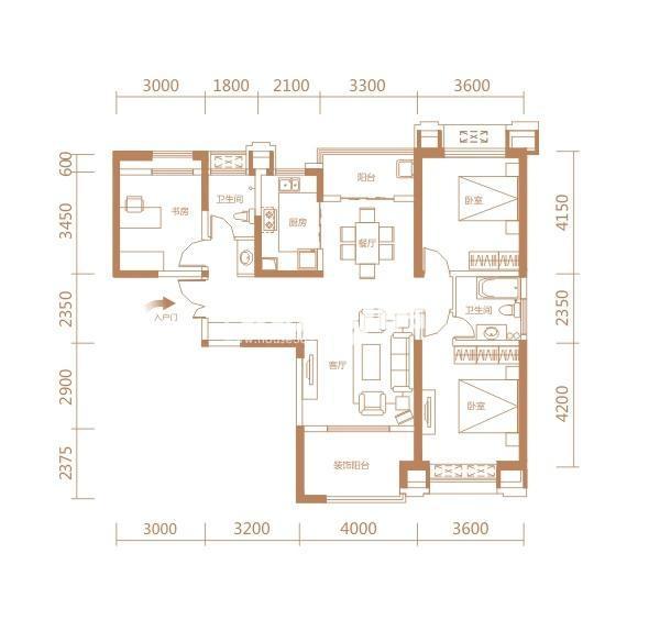 伟业公馆9#E13户型三室两厅两卫一厨133.06㎡