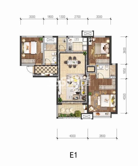 中国铁建花语城E1户型三室两厅一卫118平