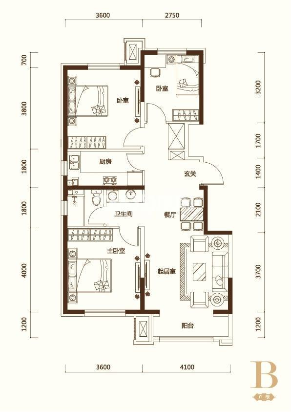 B户型3室2厅1卫 102平米