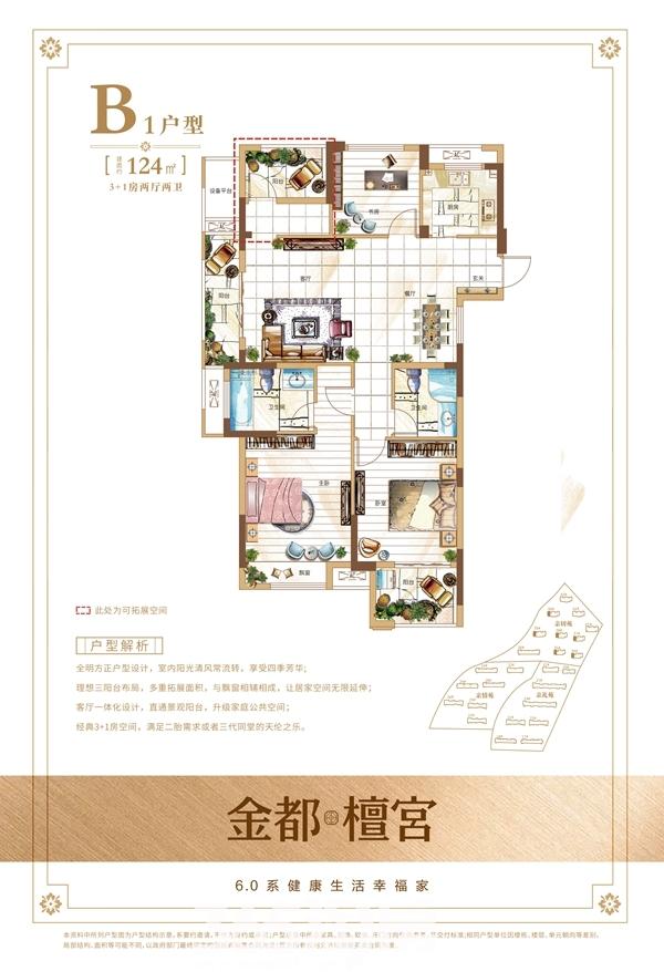 金都檀宫124㎡B1户型图