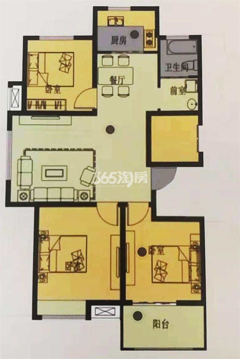 A1户型建筑面积约105㎡三室两厅一卫