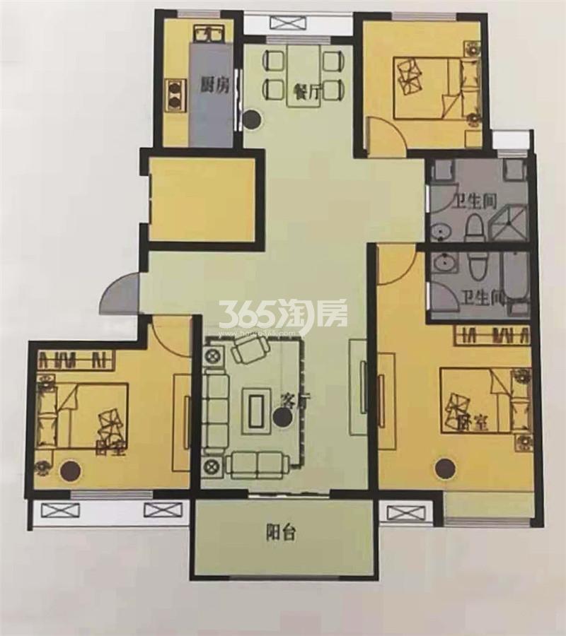 A2户型建筑面积约120㎡三室两厅两卫