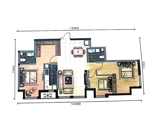 鸿嘉国际广场户型图(A-2户型建面约120.05㎡)