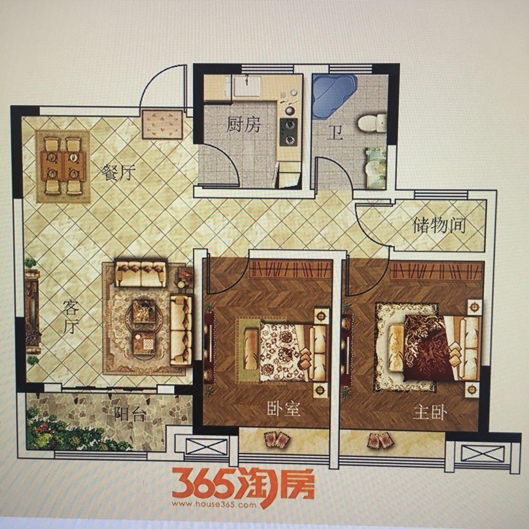 东方蓝海2室2厅1卫90.5平方产权房毛坯